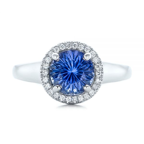 Custom Blue Sapphire and Diamond Halo Engagement Ring - Top View -  102028 - Thumbnail