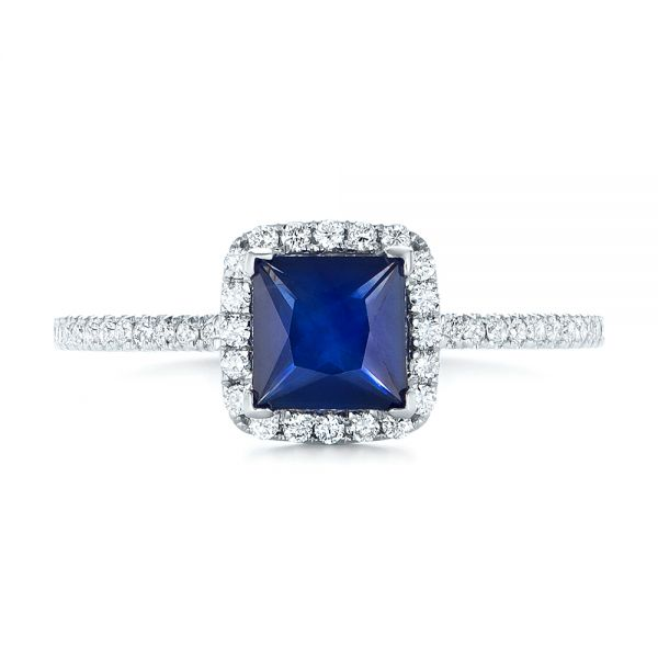 Custom Blue Sapphire and Diamond Halo Engagement Ring - Top View -  102485 - Thumbnail