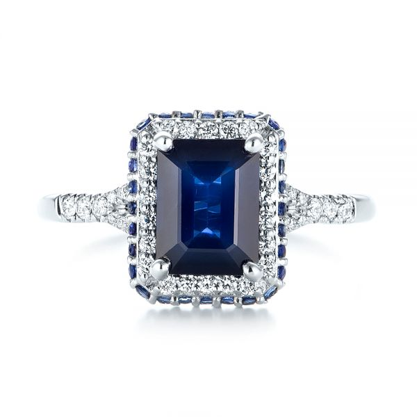 14k White Gold Custom Blue Sapphire And Diamond Halo Engagement Ring - Top View -