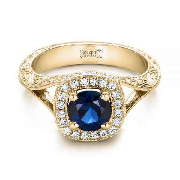 14k Yellow Gold 14k Yellow Gold Custom Blue Sapphire And Diamond Halo Engagement Ring - Flat View -  102153