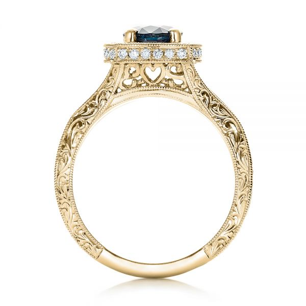 14k Yellow Gold 14k Yellow Gold Custom Blue Sapphire And Diamond Halo Engagement Ring - Front View -  102153