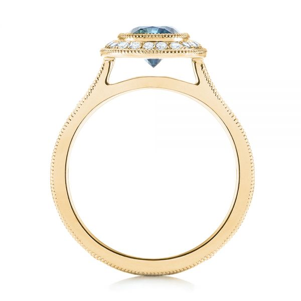 14k Yellow Gold 14k Yellow Gold Custom Blue Sapphire And Diamond Halo Engagement Ring - Front View -  103467