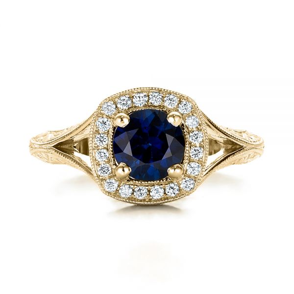14k Yellow Gold 14k Yellow Gold Custom Blue Sapphire And Diamond Halo Engagement Ring - Top View -  102153