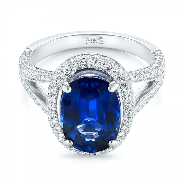 Custom Blue Sapphire and Diamond Halo Engagement Ring - Laying View