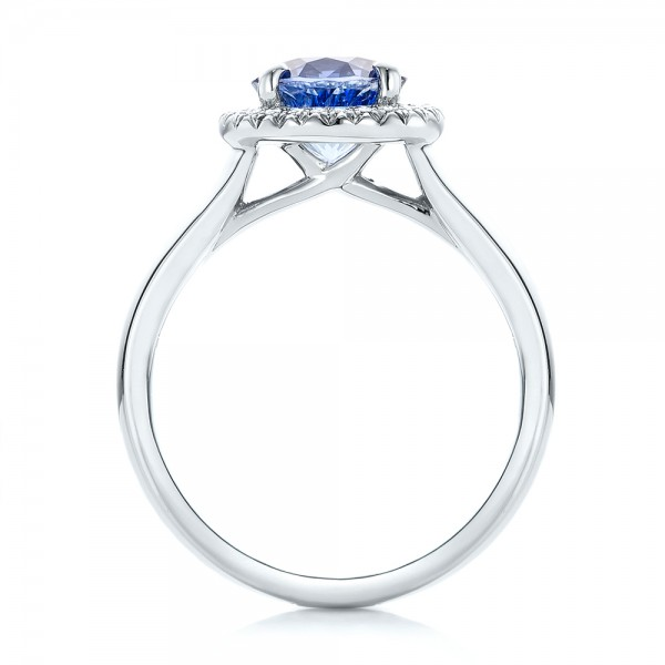 Custom Blue Sapphire and Diamond Halo Engagement Ring - Finger Through View