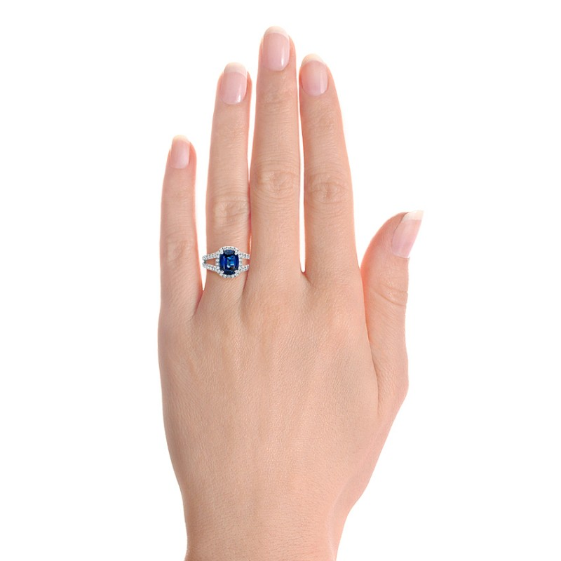 Custom Blue Sapphire and Diamond Halo Engagement Ring - Hand View -  102018 - Thumbnail