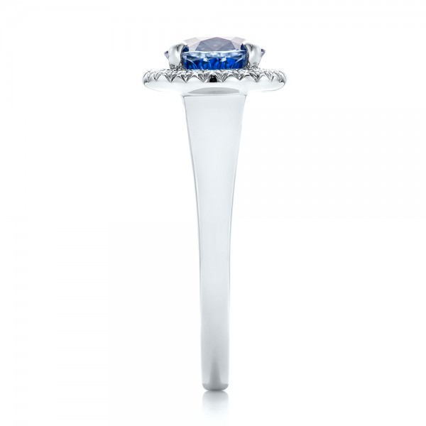 Custom Blue Sapphire and Diamond Halo Engagement Ring - Side View