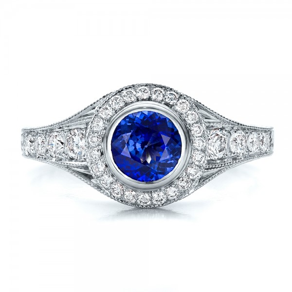 Custom Blue Sapphire and Diamond Halo Engagement Ring - Top View
