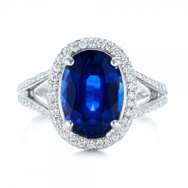 Custom Blue Sapphire And Diamond Halo Engagement Ring 103601