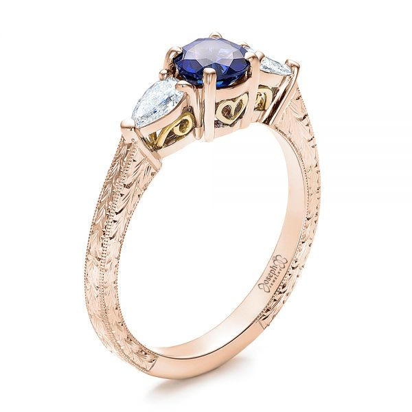 Custom Blue Sapphire and Diamond Hand Engraved Engagement Ring - Image