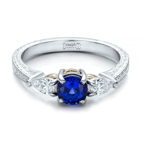 Platinum And 18K Gold Custom Blue Sapphire And Diamond Hand Engraved Engagement Ring - Flat View -