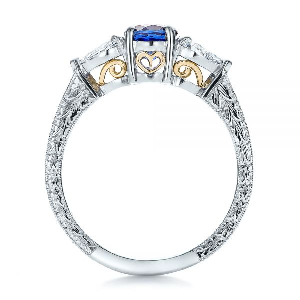 Platinum And 18K Gold Custom Blue Sapphire And Diamond Hand Engraved Engagement Ring - Front View -