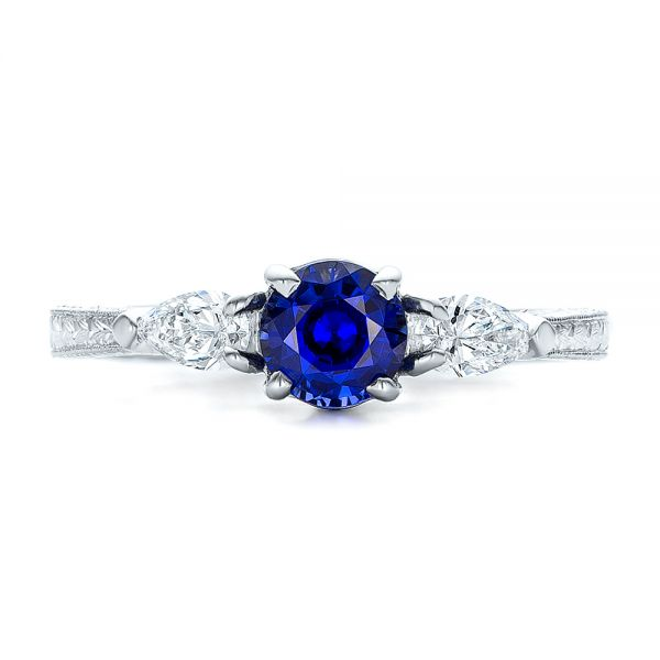 Platinum And 18K Gold Custom Blue Sapphire And Diamond Hand Engraved Engagement Ring - Top View -