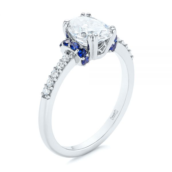 Custom Blue Sapphire and Moissanite Engagement Ring