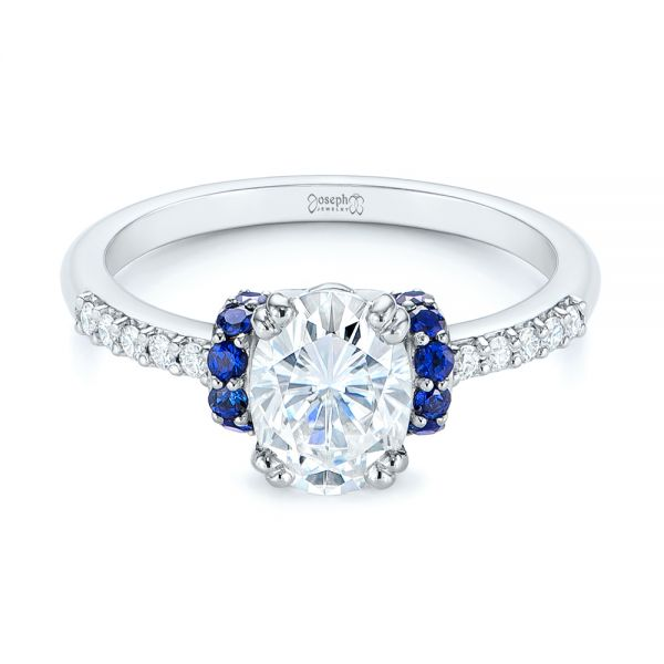 14k White Gold Custom Blue Sapphire And Moissanite Engagement Ring - Flat View -  104653