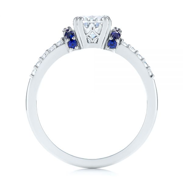 14k White Gold Custom Blue Sapphire And Moissanite Engagement Ring - Front View -  104653