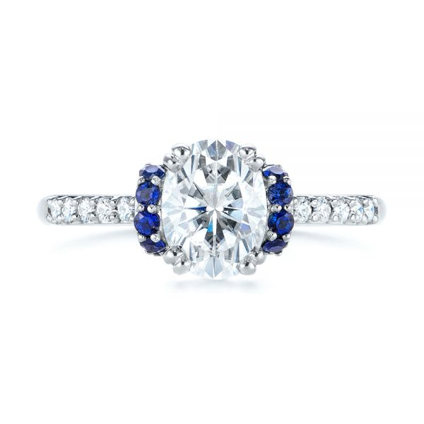 14k White Gold Custom Blue Sapphire And Moissanite Engagement Ring - Top View -  104653