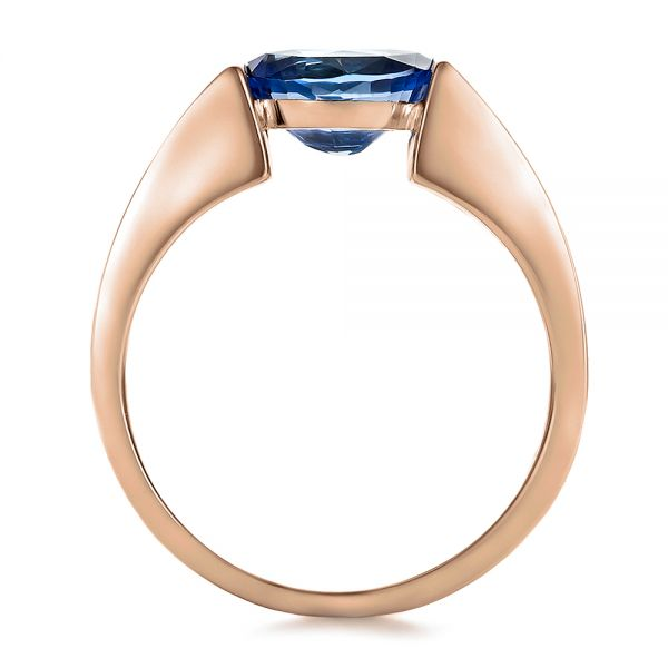 14k Rose Gold And 14K Gold 14k Rose Gold And 14K Gold Custom Blue Sapphire And Mokume Wedding Ring - Front View -