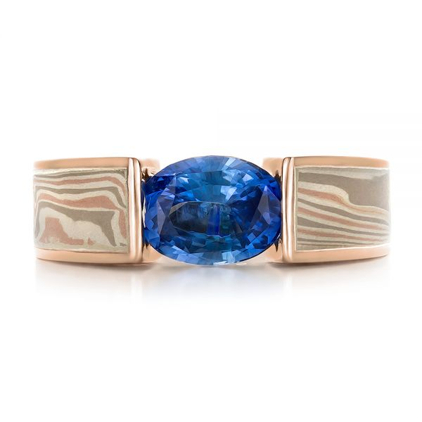 14k Rose Gold And 14K Gold 14k Rose Gold And 14K Gold Custom Blue Sapphire And Mokume Wedding Ring - Top View -