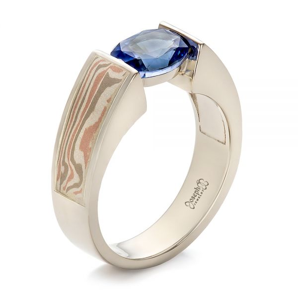 14k White Gold And Platinum 14k White Gold And Platinum Custom Blue Sapphire And Mokume Wedding Ring - Three-Quarter View -