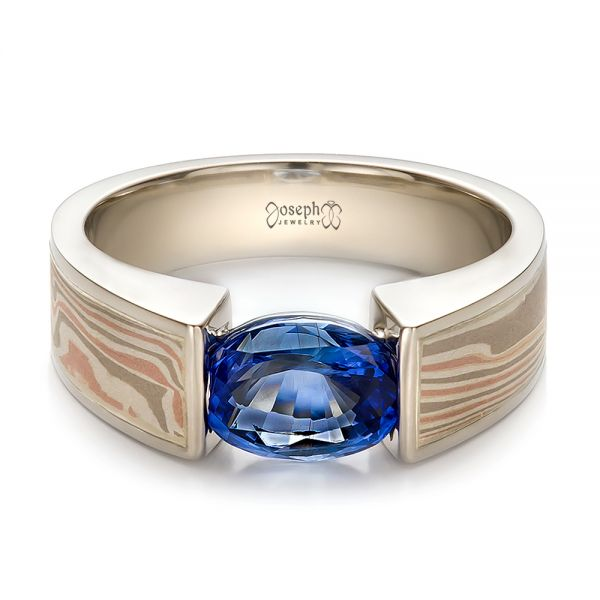 14k White Gold And Platinum 14k White Gold And Platinum Custom Blue Sapphire And Mokume Wedding Ring - Flat View -