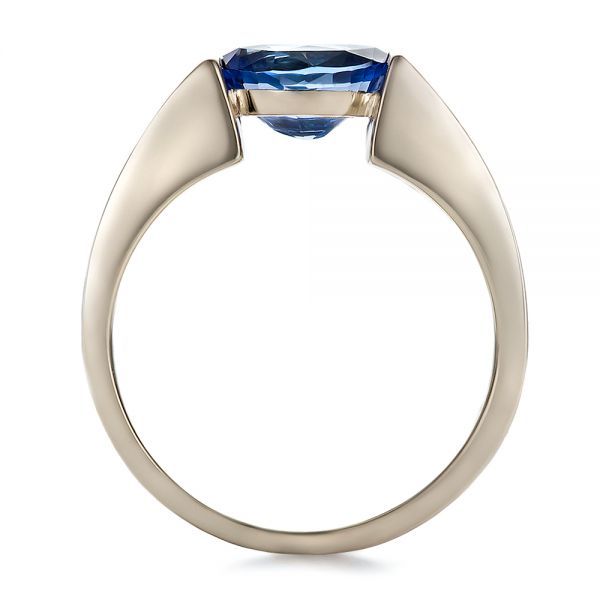 14k White Gold And Platinum 14k White Gold And Platinum Custom Blue Sapphire And Mokume Wedding Ring - Front View -