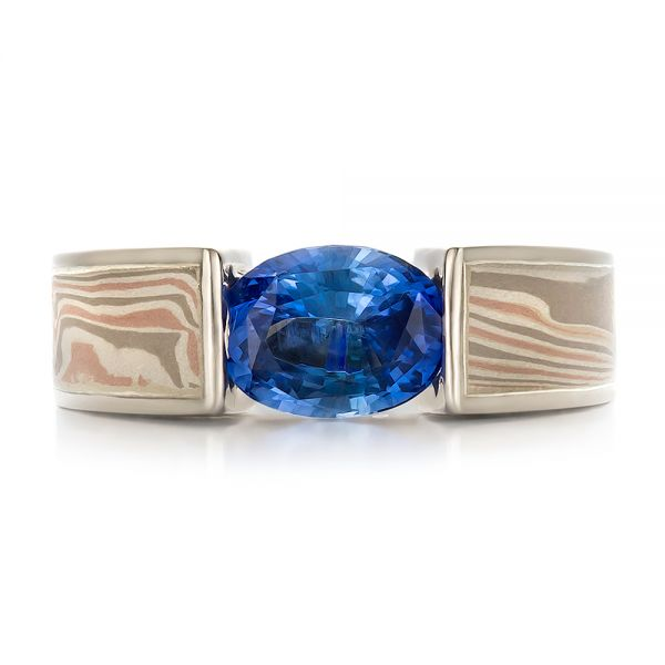 14k White Gold And Platinum 14k White Gold And Platinum Custom Blue Sapphire And Mokume Wedding Ring - Top View -