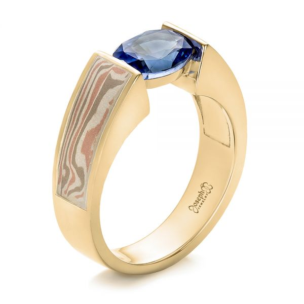 18k Yellow Gold And 14K Gold 18k Yellow Gold And 14K Gold Custom Blue Sapphire And Mokume Wedding Ring - Three-Quarter View -