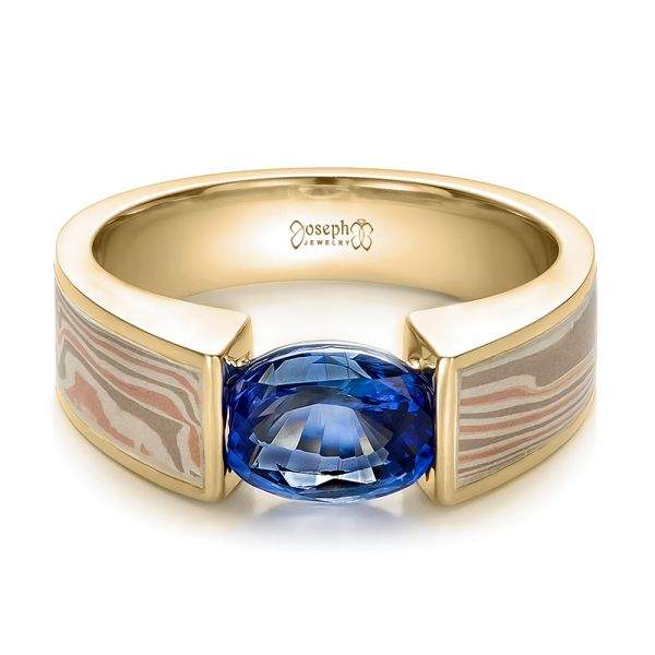 18k Yellow Gold And 14K Gold 18k Yellow Gold And 14K Gold Custom Blue Sapphire And Mokume Wedding Ring - Flat View -