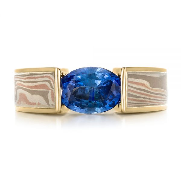18k Yellow Gold And 14K Gold 18k Yellow Gold And 14K Gold Custom Blue Sapphire And Mokume Wedding Ring - Top View -