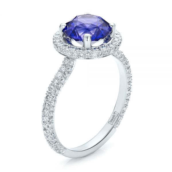 Custom Blue Sapphire and Pave Engagement Ring - Three-Quarter View -  100078 - Thumbnail