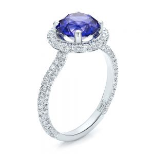 Custom Blue Sapphire and Pave Engagement Ring - Image