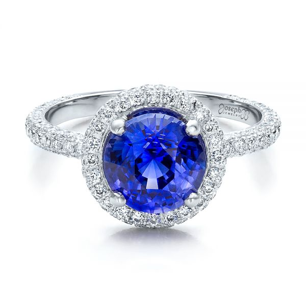 Custom Blue Sapphire and Pave Engagement Ring - Flat View -  100078 - Thumbnail