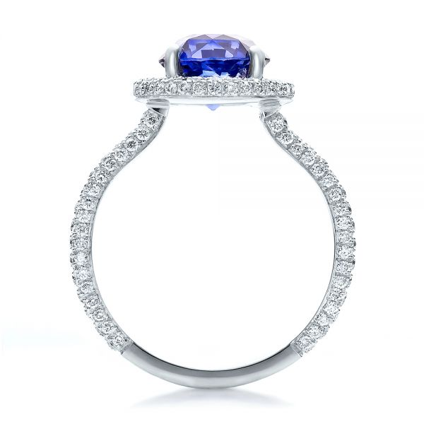 Custom Blue Sapphire and Pave Engagement Ring - Front View -  100078 - Thumbnail