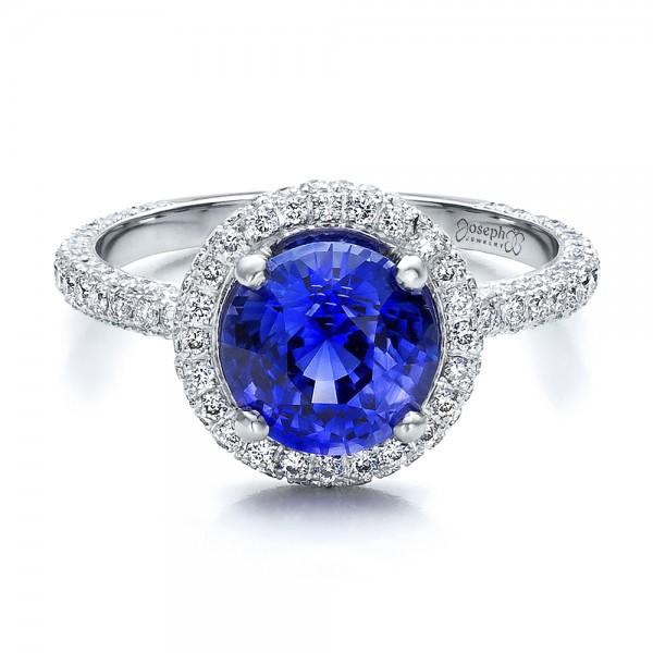 Custom Blue Sapphire and Pave Engagement Ring