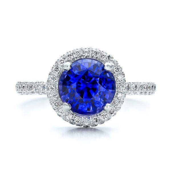 Custom Blue Sapphire and Pave Engagement Ring - Top View -  100078 - Thumbnail