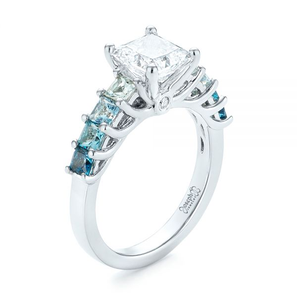 Custom Blue Topaz and Diamond Engagement Ring - Image