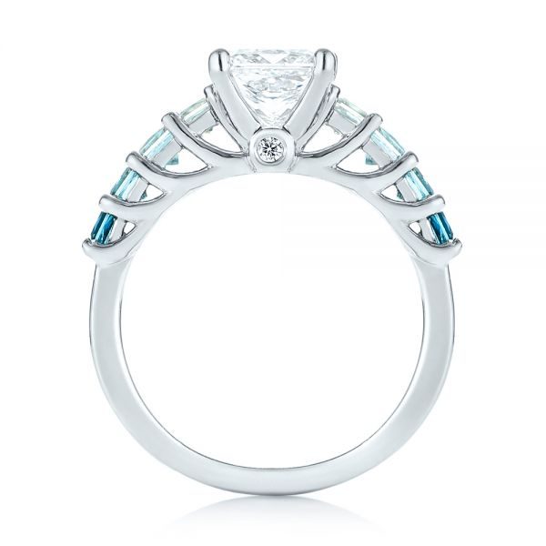 Platinum Custom Blue Topaz And Diamond Engagement Ring - Front View -  103407