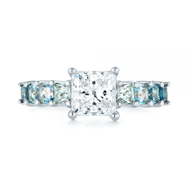 Platinum Custom Blue Topaz And Diamond Engagement Ring - Top View -  103407