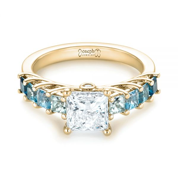 18k Yellow Gold 18k Yellow Gold Custom Blue Topaz And Diamond Engagement Ring - Flat View -