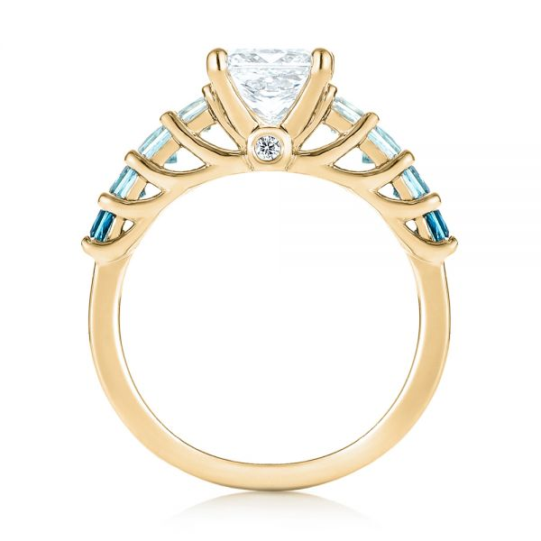 18k Yellow Gold 18k Yellow Gold Custom Blue Topaz And Diamond Engagement Ring - Front View -