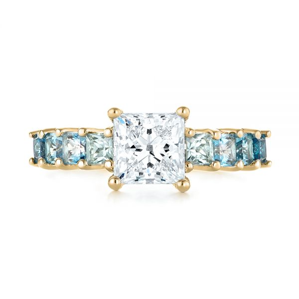 18k Yellow Gold 18k Yellow Gold Custom Blue Topaz And Diamond Engagement Ring - Top View -