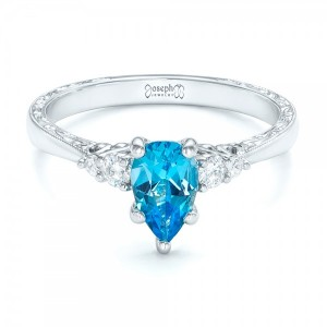 Custom Blue Topaz and Diamond Engagement Ring