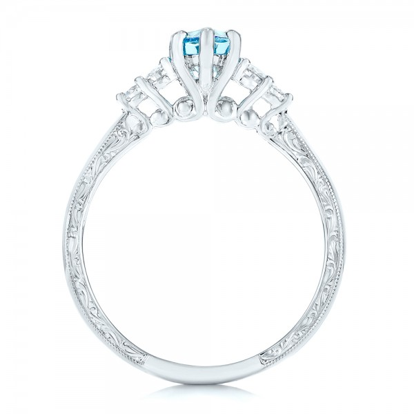 Custom Blue Topaz and Diamond Engagement Ring - Finger Through View