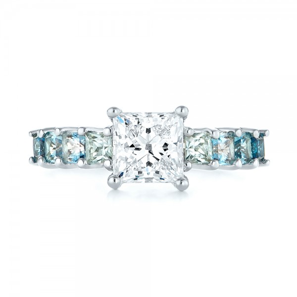 Custom Blue Topaz and Diamond Engagement Ring - Top View