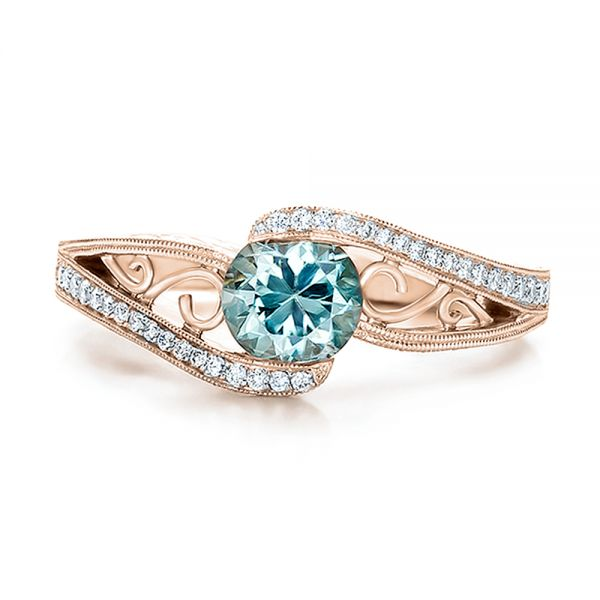 14k Rose Gold Custom Blue Zircon And Diamond Engagement Ring 100645 Seattle Bellevue Joseph Jewelry