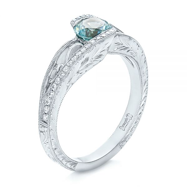 Custom Blue Zircon and Diamond Engagement Ring - Image