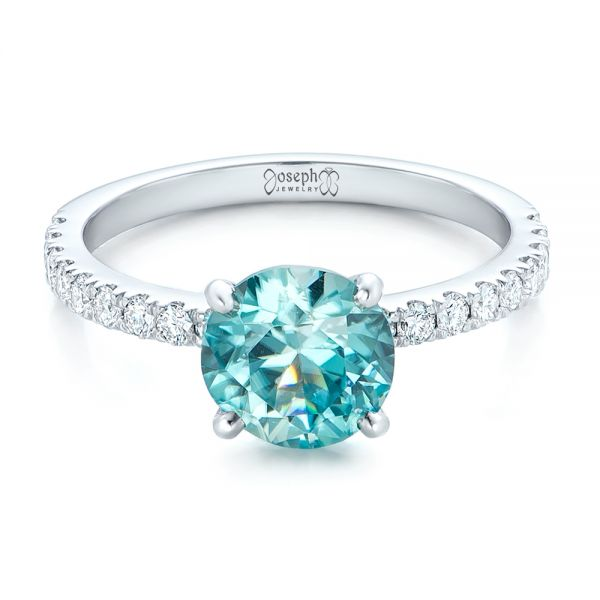 Custom Blue Zircon and Diamond Engagement Ring - Flat View -  102318 - Thumbnail