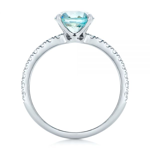 Custom Blue Zircon and Diamond Engagement Ring - Front View -  102318 - Thumbnail