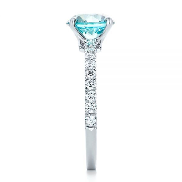 Custom Blue Zircon and Diamond Engagement Ring - Side View -  102318 - Thumbnail